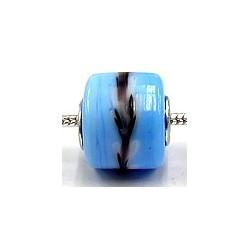 Pandorastyle 3mm gat blauw wit/zw.rand