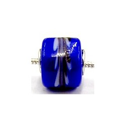 Pandorastyle 3mm gat blauw zwart/witte band