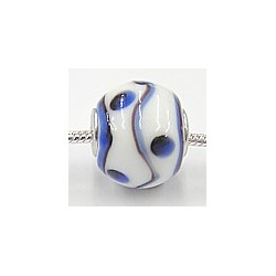 Pandorastyle 3mm gat wit blauw bewertkt