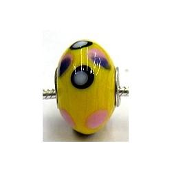 Pandorastyle 3mm gat geel met stippen