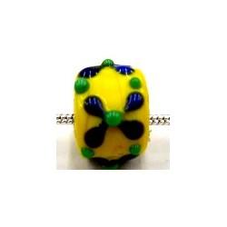 Pandorastyle 3mm gat geel met bloem