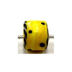 Pandorastyle 3mm gat geel zwarte stip