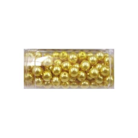 Gutermann glaskralen 6mm goudgeel ca 100st.
