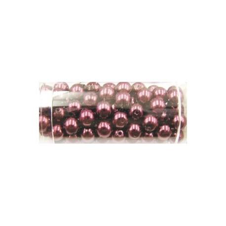 Gutermann glaskralen 6mm paarsbruin ca. 100st