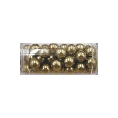 Gutermann glaskralen 8mm licht bruin 46st,