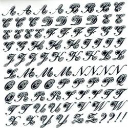 alfabet schuin glimmend zilver/zwart