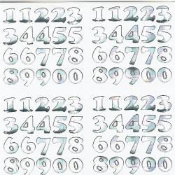 cijfers glimmend zilver