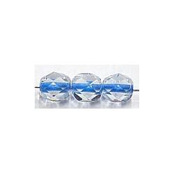 Facetkraal 6mm transp. blauwe kern 50st.