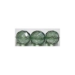 Facetkraal 12mm transparant groen gelusterd 10st.