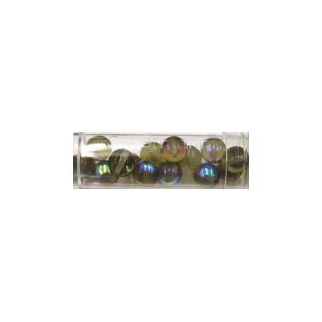 Gutermann regenboogparels 8mm licht groen/bruin 14