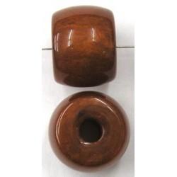 Kunststof kraal ton 15x20mm bruin per stuk