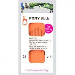 Pony borduurnaald zwart 26mm 6st.