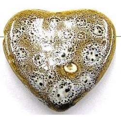 Keramische kr. hart 38mm wit-bruin gespikkeld p.st