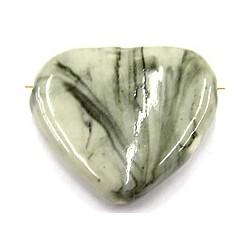 Keramische kraal hart 38mm grijs gemelleerd p.st.