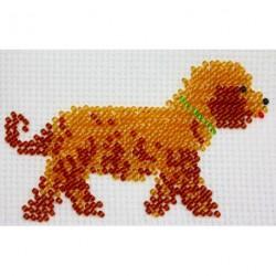 Borduurpakket bruine hond 6x10cm
