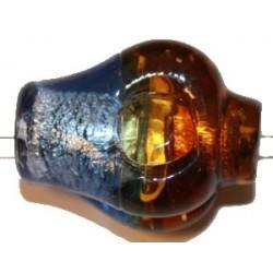 Glaskraal 35mm flesvorm bruin/blauw p.st