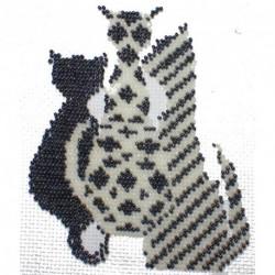 Borduurpakket 4 katten zwart/wit 13x15cm