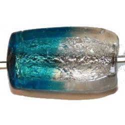 Glaskraal rechthoek ca 35mm lichtblauw/zilver p.st