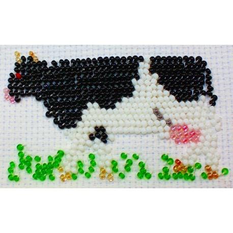 Borduurpakket zwartbonte koe 5x9cm.