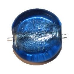 Glaskraal schijf ca 24mm transp.blauw p.st