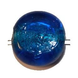 Glaskraal schijf ca23mm blauwgroen p.st