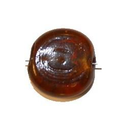 Glaskraal schijf ca23mm bruin p.st