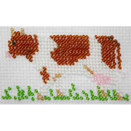 Borduurpakket roodbonte koe 5x9cm.