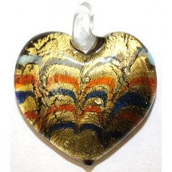Glazen hanger 4cm hart goud/rood/wit/blauw