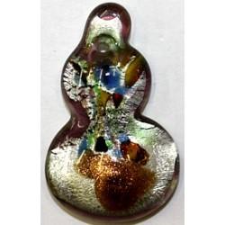 Glazen hanger gitaarvorm zilver gevlekt