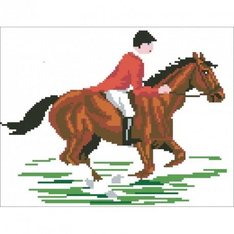 Borduurpakkert ruiter op paard ca 25x30cm.