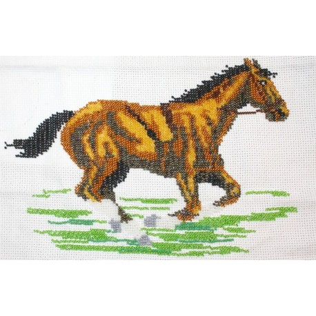 Borduurpakket paard in galop ca 20x30cm