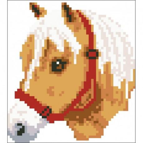 Borduurpakket beige Pony ca 14x12cm.