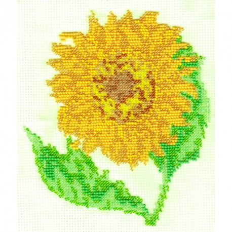 Borduurpakket Zonnebloem geel 18x16cm
