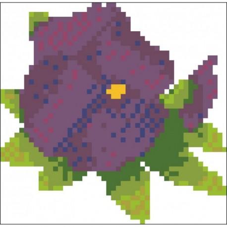Borduurpakket Viooltje-8 paars met blad 12x12cm