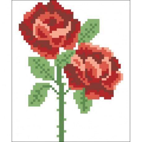 Borduurpakket rode rozen 14x11cm