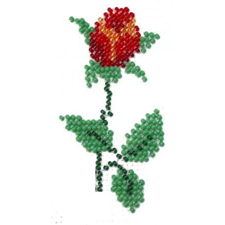 Borduurpakket rode roos 10x5cm.