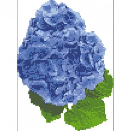 Borduurpakket Hortensia blauw 24x18cm.