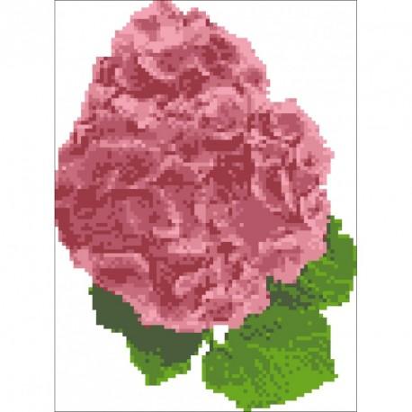 Borduurpakket Hortensia rose 24x18cm.