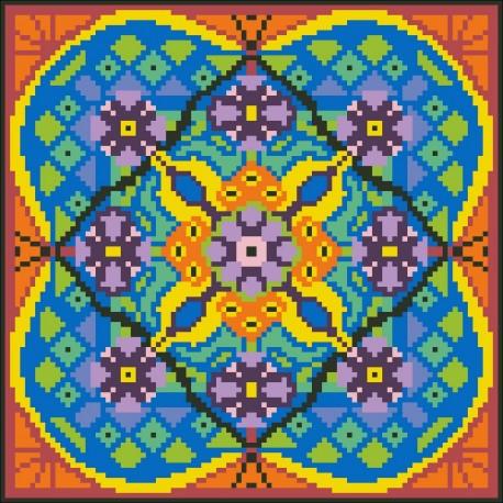 Borduurpakket oranje/blauw/zwart 22x22cm.