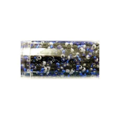 Gutermann rocailles 9/0 mix blauw/zwart/wit 28gr