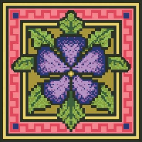 Borduurpakket bloem rose/paars 22x22cm.