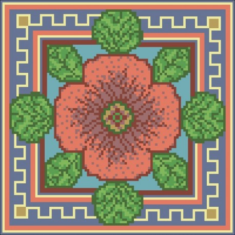 Borduurpakket bloem oranje/groen/blauw 22x22cm.