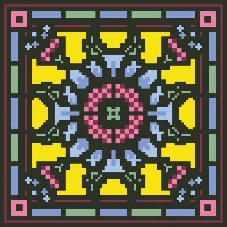 Borduurpakket bloem geel/rose/blauw 22x22cm