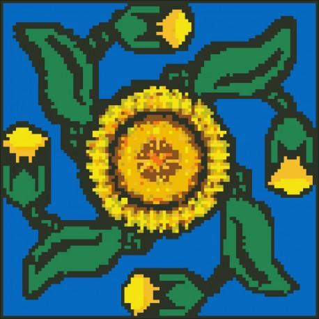 Borduurpakket geel/blauw 22x22cm.