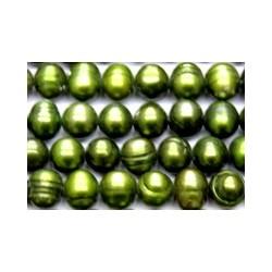 Zoetwaterparel 7mm donker olijfgroen ca 40cm