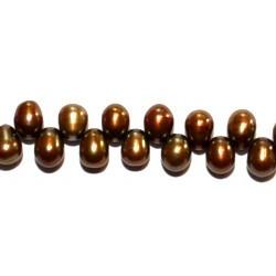 Zoetwaterparels druppel 3x6mm bruin streng 39cm