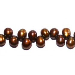 Zoetwaterparels druppel 4.5x6.5 mm bruin str. 39cm
