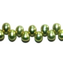 Zoetwaterparels druppel 4.5x6.5 mm groen str. 39cm