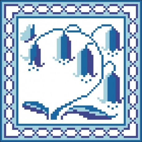 Borduurpakket bluebell 16x16cm wit opgevuld