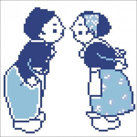 Borduurpakket kussende poppetjes blauw 17x17cm